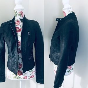Xhilaration black faux leather moto jacket